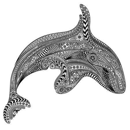 Ilustración de Vector killer whale from vintage patterns - Imagen libre de derechos