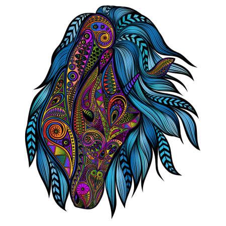 Photo pour Beautiful vector unicorn with blue mane - image libre de droit