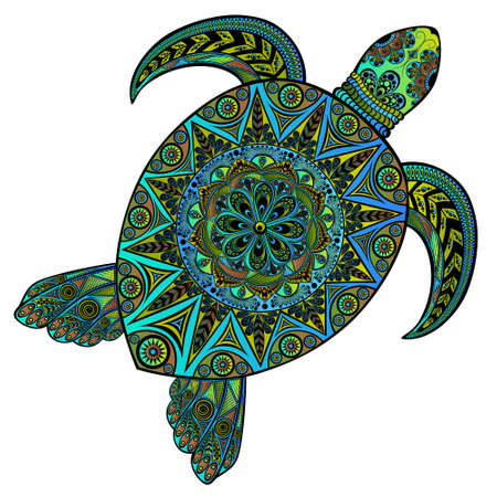 Illustration for Beautiful color vector turtle in  style - Royalty Free Image