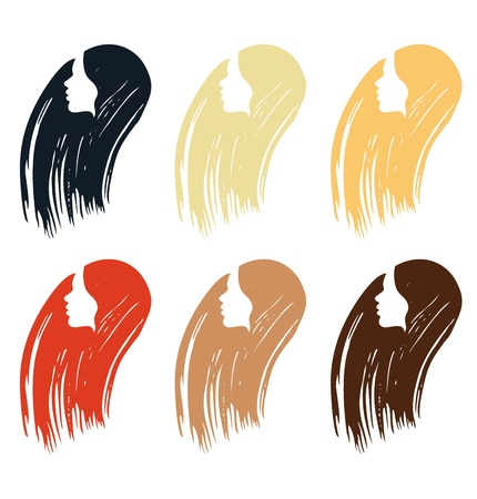 Hair colors set of icones