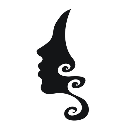 Illustration for Vector profile of woman with curly hair - Royalty Free Image