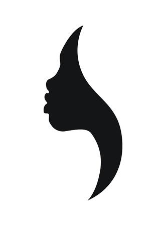 Illustration pour Face profile of african young woman on white background - image libre de droit