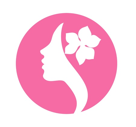 Illustration for Young woman with flower in hair- beauty vector sign - Royalty Free Image