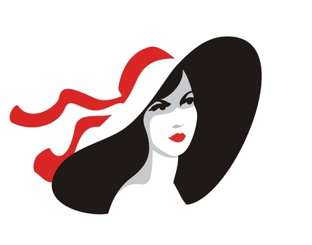Beautiful woman in big hat-illustration on white background