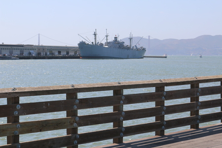 big ship  on the Fisherman's Wharf is a neighborhood and popular tourist attraction in San Francisco, California.