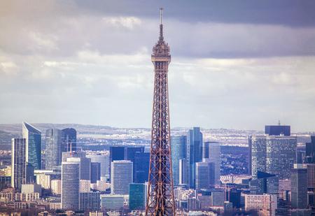 Foto für Paris aerial with Eiffel Tower and skyscrapers - Lizenzfreies Bild