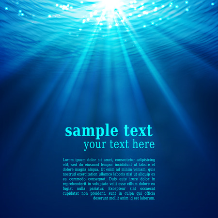 Abstract underwater background with sunlight