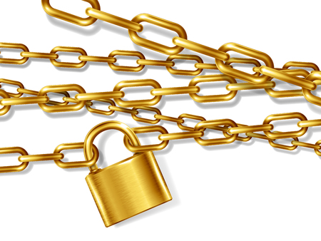 The realistic golden metal chain and padlock, handcuffed card, vector illustration