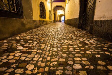 Photo pour Rain on a cobblestone street in Ljubljana - image libre de droit
