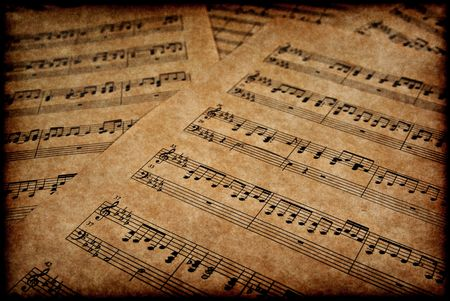 great image of musical notes on brown parchment paper
