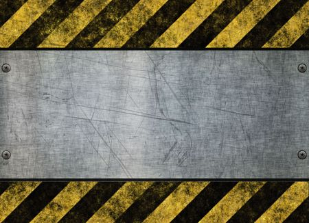 great grungy hazard sign with metal plate background image