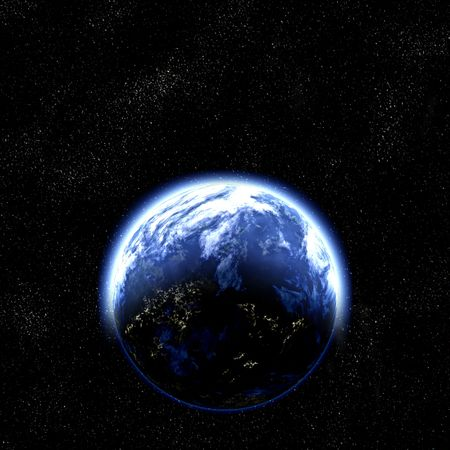great illustration of earth like planet in space