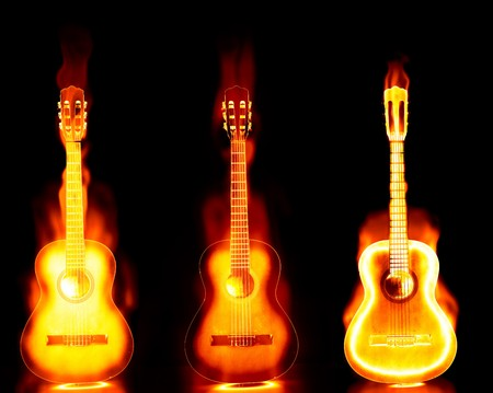 three  images of an acoustic guitar on fire