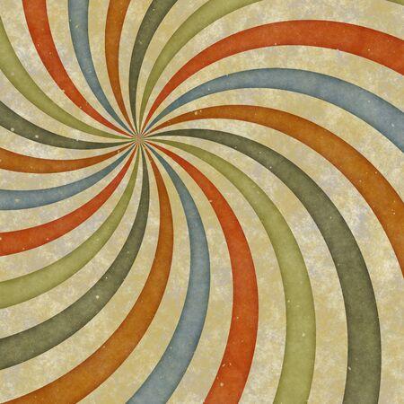 sixties or early seventies retro grungy sunburst swirl