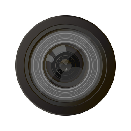 Illustration for Camera photo lens, vector. A camera lens vector illustration with realistic reflections - Royalty Free Image