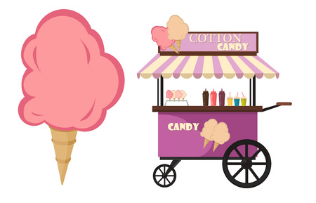 Illustration pour Vector flat illustration of Cotton Candy cart. Cart cotton confection light carnival candy and tasty cotton candy cart kids sweet food. Cotton candy sugar fluffy dessert on wooden stick vector. - image libre de droit