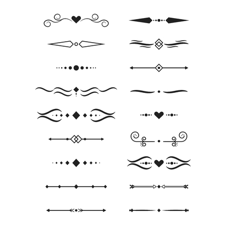 Collection of vector dividers calligraphic style  Vector