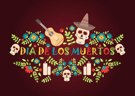 Illustration pour Day of the dead poster, Mexican dia de los muertos sugar skull holiday vector illustration. Mexico party skeleton traditional festival. Spooky halloween poster. - image libre de droit