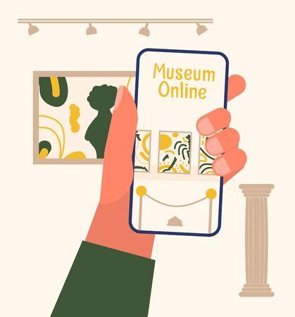 Illustration pour Museum exhibit online concept. - image libre de droit
