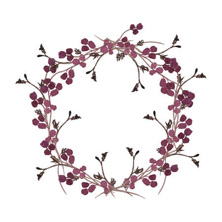 Illustration pour Floral wreath. Round borders made of hand drawn herbs and flowers. Herbal frame. Greenery autumn border isolated on white. Fall nature branch to ornate quote or logo. Wedding wreath invitation. - image libre de droit