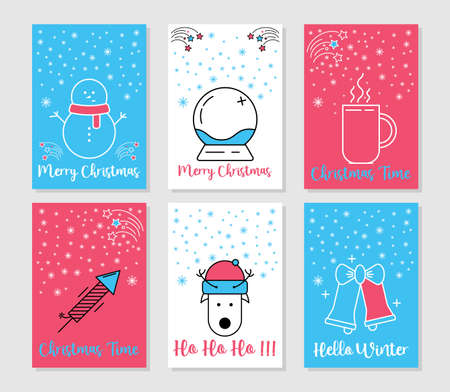 Illustration for Christmas and Winter cards collection. Line art merry christmas holiday symbols. Xmas decoration gifts and trendy minimal ornament. Festive winter new year vector icons. - Royalty Free Image