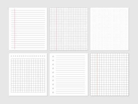 Illustration for Notebook paper sheet document. Graphical blank paper sheet set for data representation. Page ripped off from notebook. Vector empty note paper. Remember list template. Lined school card. - Royalty Free Image