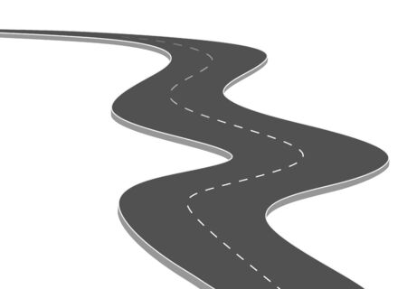 Illustration for Roadway journey to the future. Asphalt street isolated on white background. Symbols Way to the goal of the end point. Path mean successful business planning Suitable for advertising and presentstation - Royalty Free Image