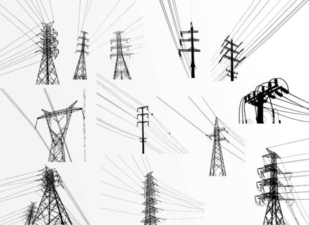 Illustration pour Electric power system Illustration, presentation, and advertisement. The picture shows a network of interconnected electrical systems in all areas. Symbols, steps for successful business planning Suit - image libre de droit