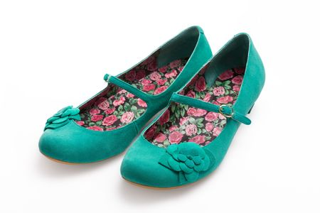 Photo for Ladies green suede shoes - Royalty Free Image