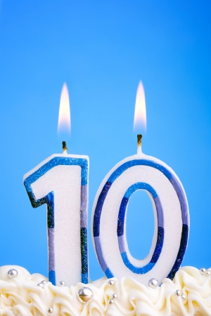 Candles for a tenth birthday or anniversary