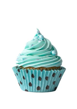 Cupcake decorated with turquoise frosting