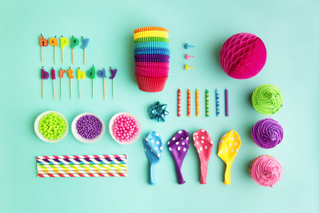 Overhead view of birthday party object collection
