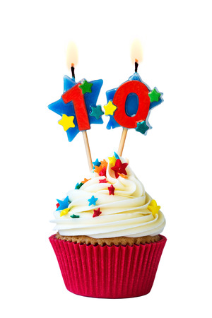Foto de Cupcake with number ten candles - Imagen libre de derechos