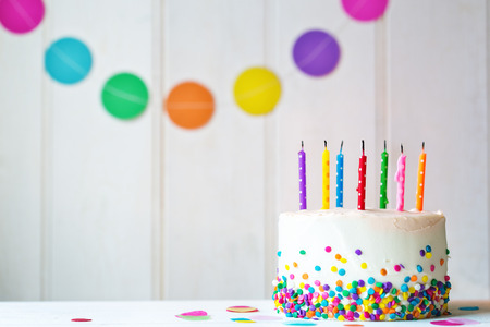 Photo for Birthday cake with blown out candles - Royalty Free Image