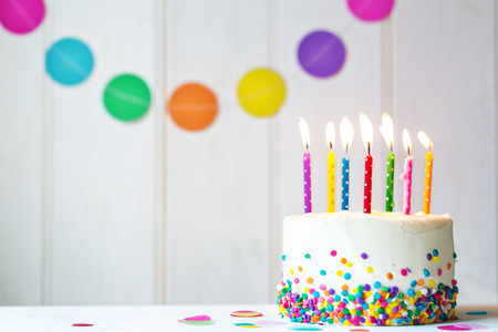 Photo for Birthday cake with colorful candles - Royalty Free Image