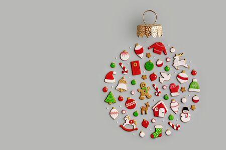Photo pour Decorated Christmas cookies overhead view  - image libre de droit