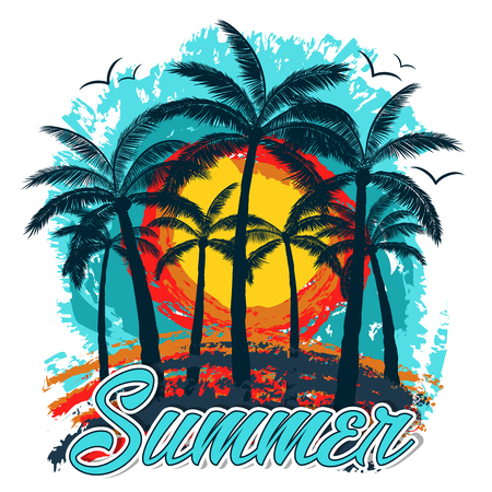 Illustration pour Summer   background with palm trees and gulls in blue, orange and yellow colors. With summer text written in manuscript font. Ready to use in decorations, social media, banners and poster. - image libre de droit