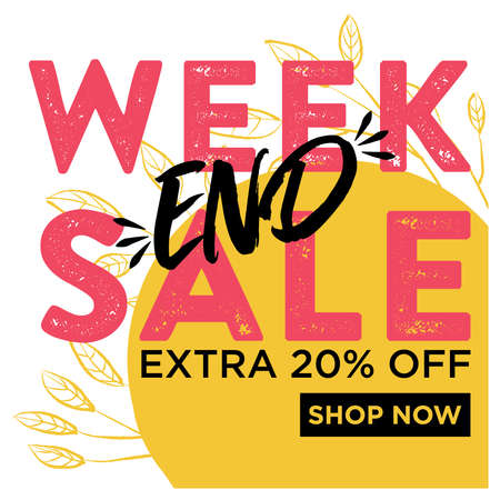 Ilustración de Weekend sale banner, extra 20% off, shop now. With yellow leaves and white background. Fun pink and black calligraphy. Ready to use in social media, posters, flyers and advertising. - Imagen libre de derechos