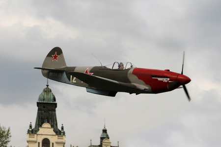OSTRAVA, CZECH REPUBLIC - APRIL 30, 2015: Combat Plane YAK-3, Yakovlev, 70-th Anniversary of the Liberation of Ostrava on April 30, 2015 in Ostrava, Czech Republic. World War II Fighter Plane Smallest.