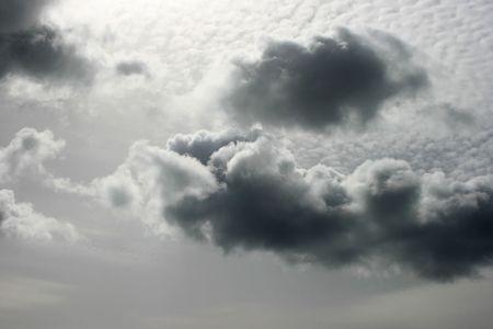 Dark clouds in the sky.