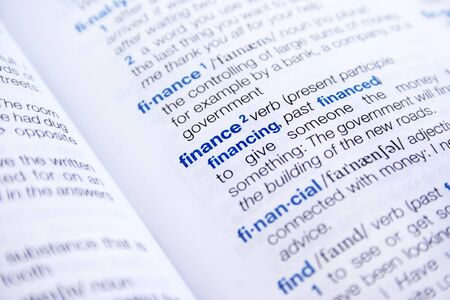 The word finance and financial in dictionary.