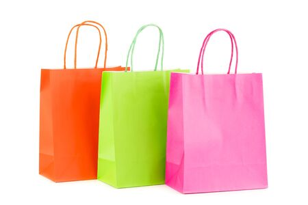 Photo pour Colorful paper shopping bags isolated on white background. - image libre de droit