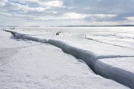 Broken ice on sunny day