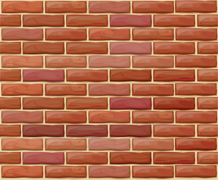 Vector seamless brick wall made of red bricks different colors.