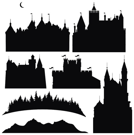 Silhouettes of  castles  and elements for design.