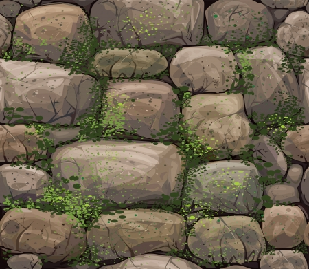 Vector seamless texture of stones covered moss