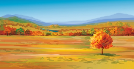 Illustration pour Vector of autumn landscape  - image libre de droit
