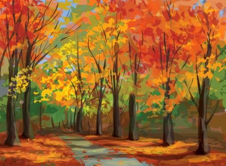 Vector of autumn landscape, pathway in park