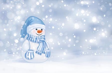 Happy snowman on snowfall background