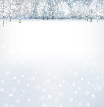 Vector of winter scene with forest background